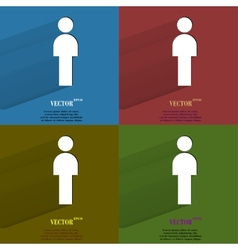 Color set man restroom flat modern web button with vector