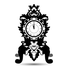 Silhouette of vintage watch in baroque style vector