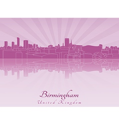 Birmingham skyline in purple radiant orchid vector