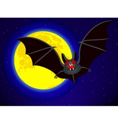Bat and moon vector