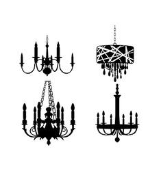 Set of chandelier designs vector