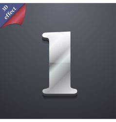 Number one icon symbol 3d style trendy modern vector