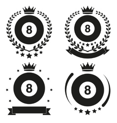 Set of vintage billiard club badge and label vector