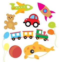 Set of child and kids toys vector
