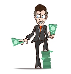 Businessman show rich cartoon vector
