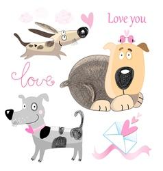 Dog lovers set vector