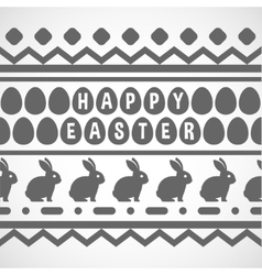 Pattern with waves rabbits and eggs vector