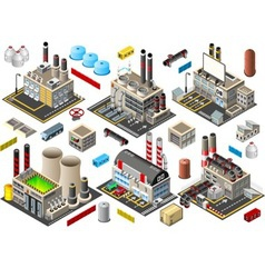 Isometric building factory set vector