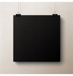 Black blank square sheet of paper template vector
