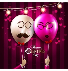 Happy valentines day card balloons with vector