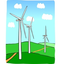 Hand-drawn of windmill power plant vector