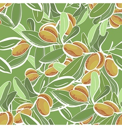 Seamless flat pattern with doodle olive vector