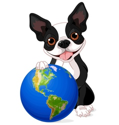 Boston terrier earth day vector