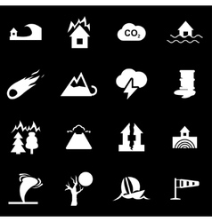 Black disaster icon set vector