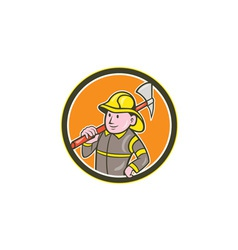 Fireman firefighter axe circle cartoon vector