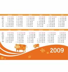 2009 calendar with cow vector