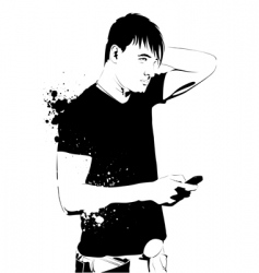 Handsome guy on phone vector