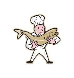 Chef cook handling salmon fish standing vector