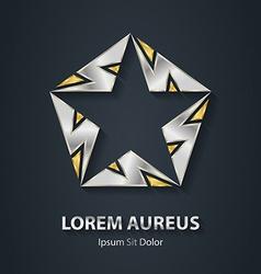 Gold and silver star logo made of lightnings award vector