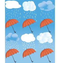 Rainny weather statuses vector