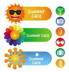 Set with summer design elements vector
