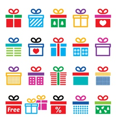 Present gift box colorful icons set vector
