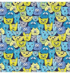 Sketch colorful cat pattern vector