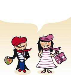 French cartoon couple bubble dialogue vector