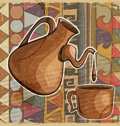 Coffee pot and cup of coffee in the ethnic style vector