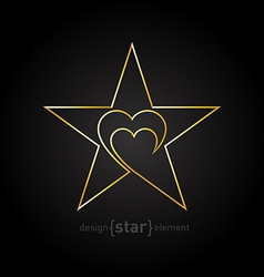 Original gold star with heart made of thin lines vector