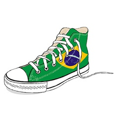 Hand draw modern sport shoes with brazil flag vector