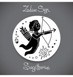 Sagittarius zodiac sign of horoscope circle emblem vector