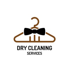 Dry cleaning service logo template hanger with bow vector