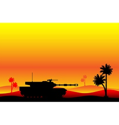 Modern heavy tank in desert vector