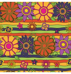Flowers and stripes psychedelic pattern vector