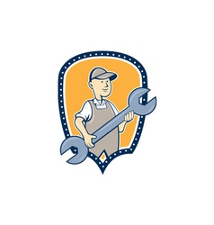 Mechanic spanner wrench shield cartoon vector