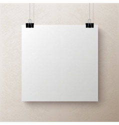 White blank square sheet of paper template vector