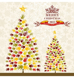 Merry christmas pine tee hands card vector