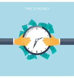 Flat time is money concept background movey vector
