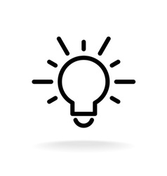 Lamp bulb flat icon with light rays black outline vector