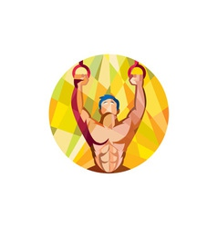Cross-fit training weights ring circle low polygon vector