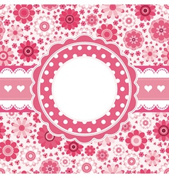 Pink retro card with floral pattern seamless vector