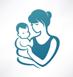 Mother and baby stylized symbol vector