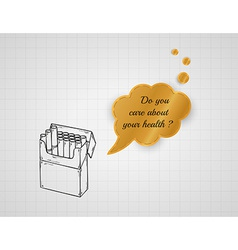 Care about your health with pack of cigarettes vector