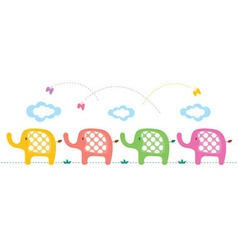 Cute elephants background vector