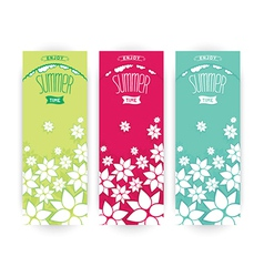 Set flowers summer banner vector