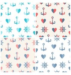 Navy seamless patterns set anchor steering wheels vector