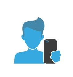 Male selfie blue icon vector
