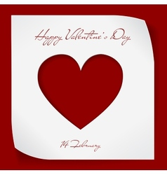 Valentines day paper background with red cutting vector