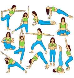 Yoga poses collection - colored vector